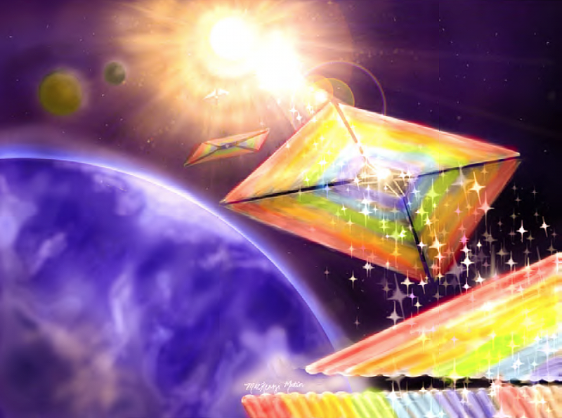 Solar sails glittering with rainbow colors in orbit around Earth, sun in background.