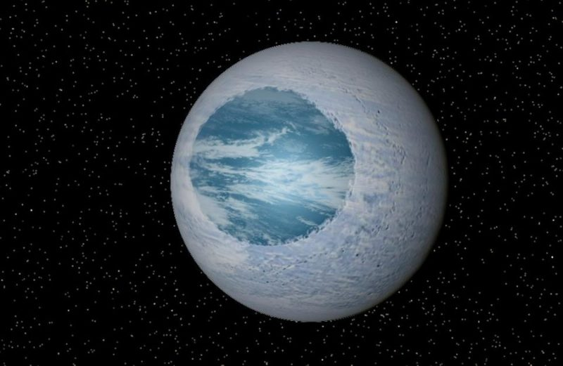 Planet with  medium-sized round blue ocean and the rest white colored ice.