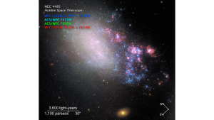 Image of a galaxy, with bright blue stars and pink nebulas on one side.