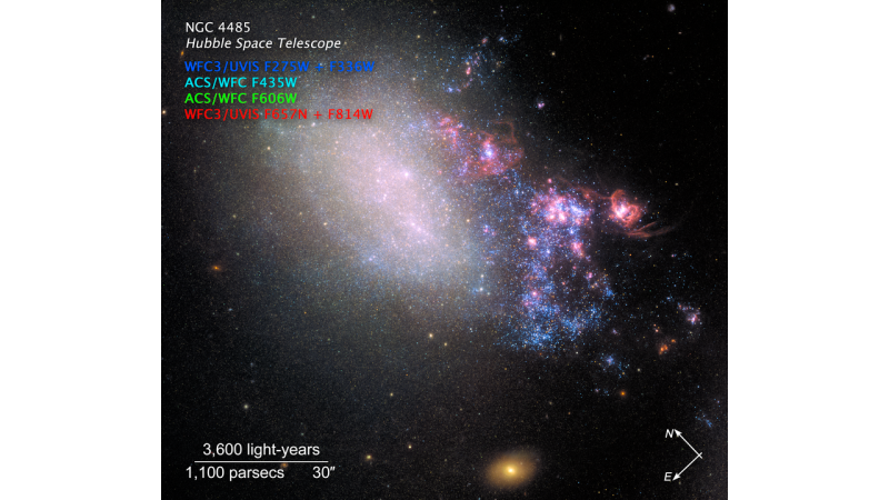 A galaxy, about a third of it on one side with bunches of bright blue stars and pink nebulas, labeled.