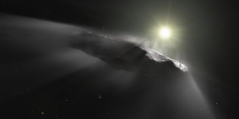 Painting of oblong, rocky 'Oumuamua, near a sun with dust flying off it away from sun.