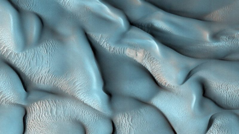 Bands of dunes shown in blue.