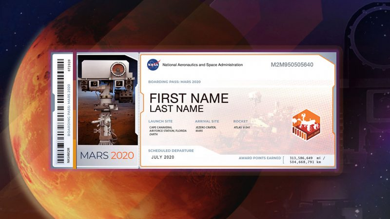 Image of rad planet Mars with a rectangular white ticket on top of it.