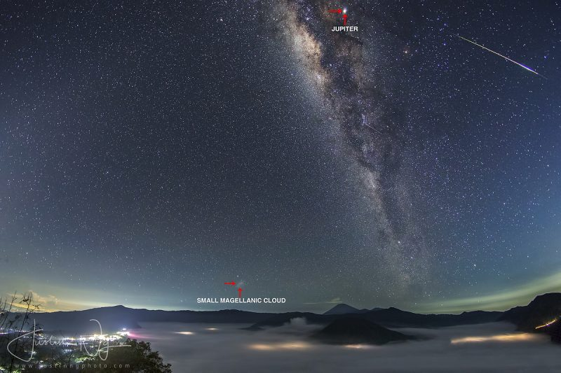 Almost vertical Milky Way with streak, bright dot, and small fuzzy object near horizon.