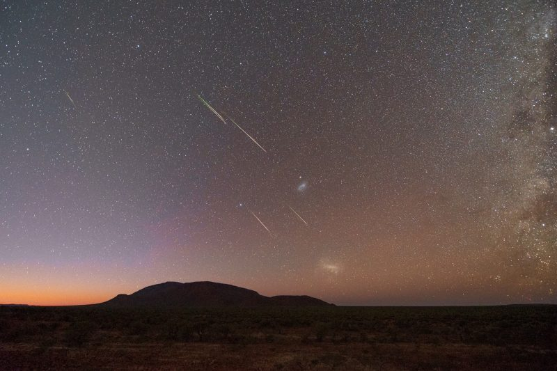 Composite image of several meteors streaking across a starry sky.