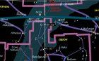 Star chart, showing Milky Way around Orion region.