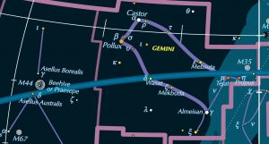 Star chart, showing Milky Way around constellations Gemini and Cancer.