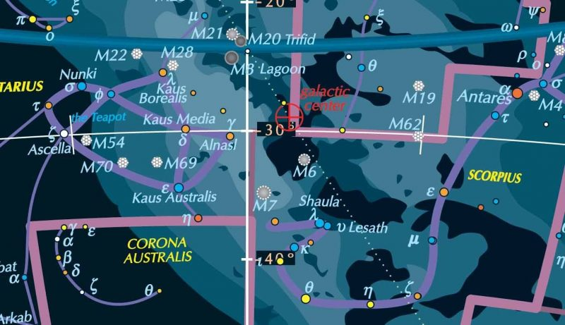 Star chart, showing brighter Milky Way center, many stars, constellation outlines.