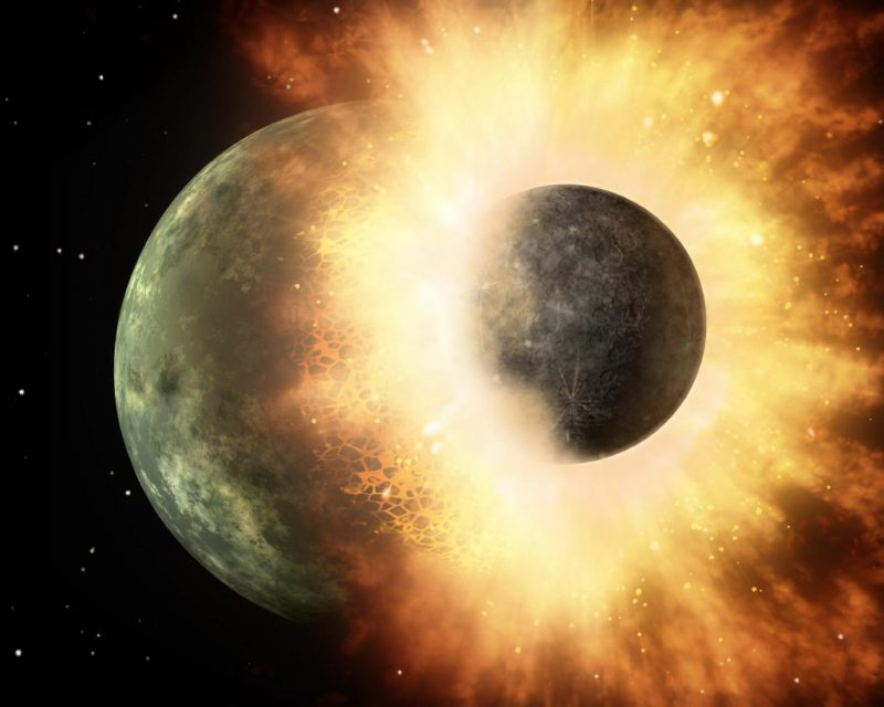 A smaller round space body ramming a larger one, with fiery ejecta exploding outward.