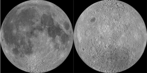 Side-by-side photos of moon's near and far sides.