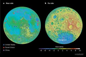 Two round topographic maps, one showing the moon's near side and one the far side, with spacecraft landing sites marked.