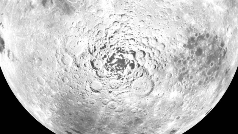 Heavily cratered south pole area.
