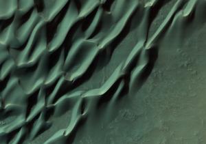 Sand dunes on Mars.