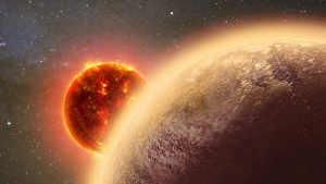 Small rocky exoplanet orbiting its star.