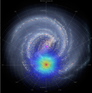 Artist's concept of a top-down view of the Milky Way's spiral arms, with a starburst area indicated.