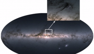 Photographic image showing flat galactic disk. The inset shows dark lanes of dust, where stars form.