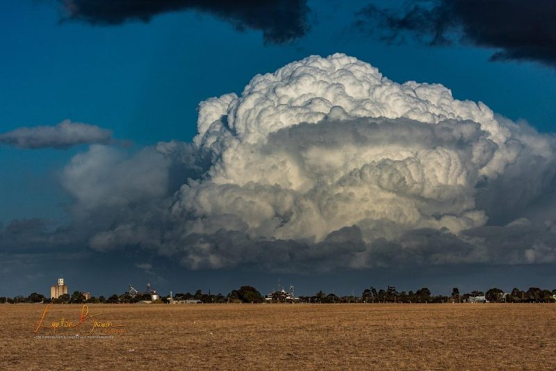 Huge white cloud boiling up. Foreground: brown field and distant horizon.