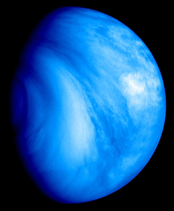 Blue sphere with smudgy, elongated clouds, black background.