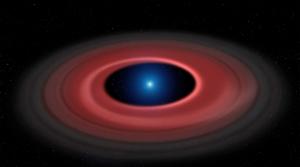 Dust ring around white dwarf star.