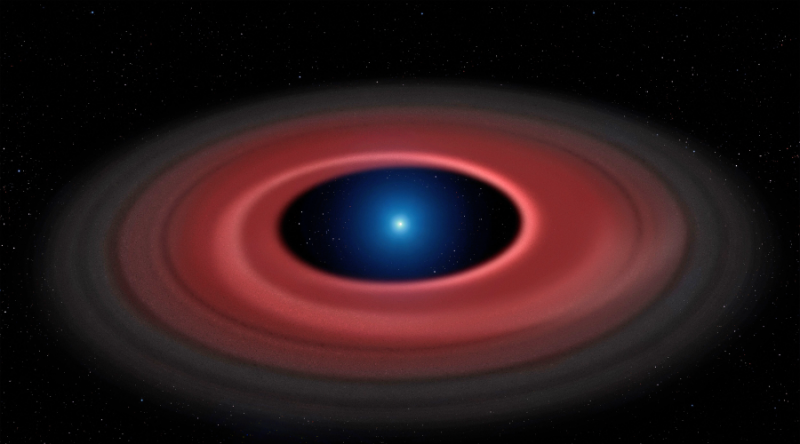 Flat red dust ring around bright blue-white dwarf star.