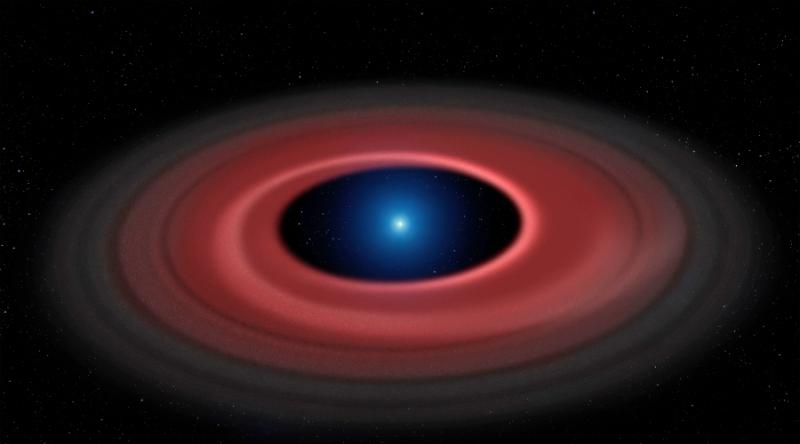 Flat red dust ring around bright blue-white dwarf star.