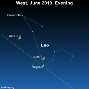 The moon passes in front of the constellation Leo the Lion on June 8 and 9, 2019.