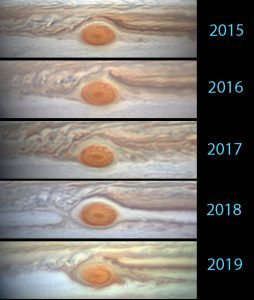 Series of Jupiter photos - 2015 to 2019 - showing changes in the Red Spot.