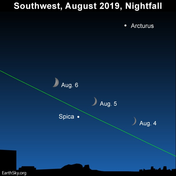 Chart showing crescent moons and Spica on August 4 to 6, 2019.