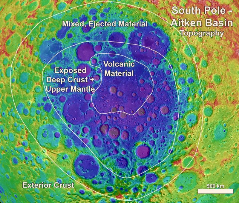 Closeup of blue patch with irregular concentric lines and labeled surface materials.
