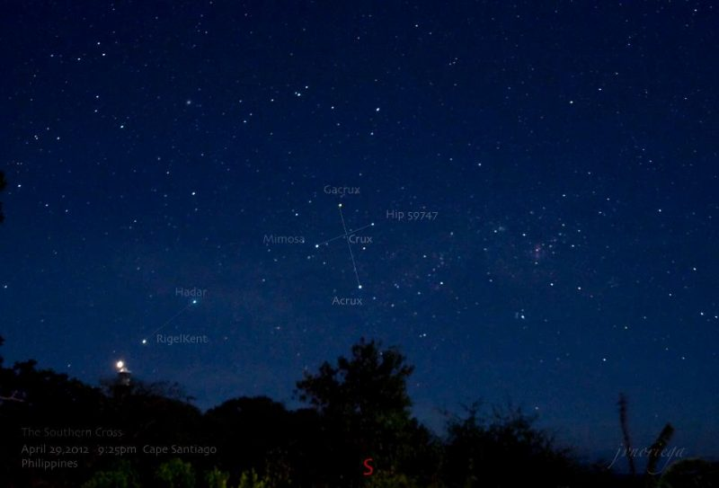 Southern Cross and southern Pointer stars.