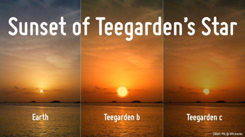3 sunsets with small sun, larger sun, medium dimmer sun.