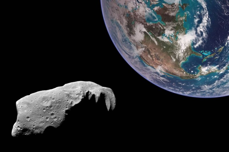 Irregular oblong gray space rock near Earth in composite picture.