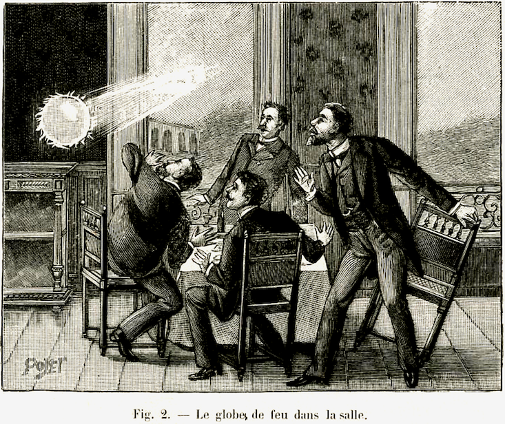 Victorian men leaping from their chairs at sight of flying ball of light.