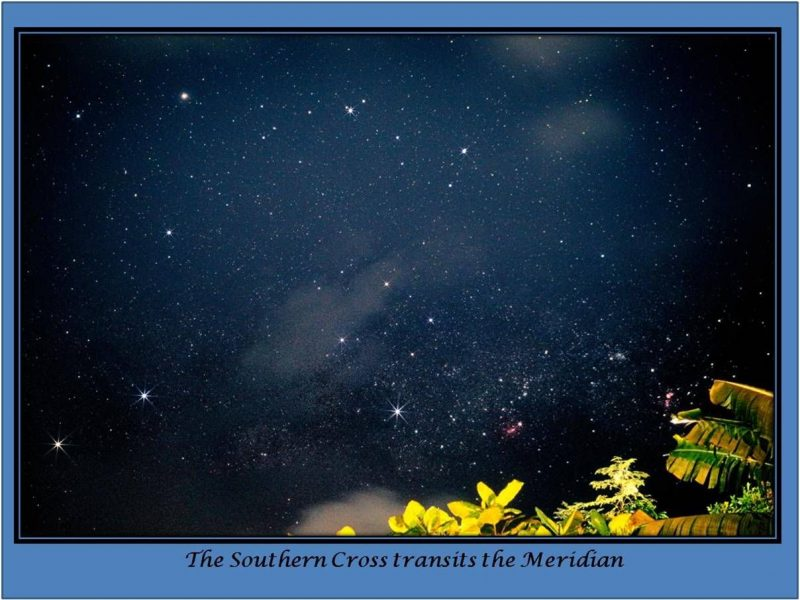 The Southern Cross, seen from the Philippines, with bright stars to left and right of it.
