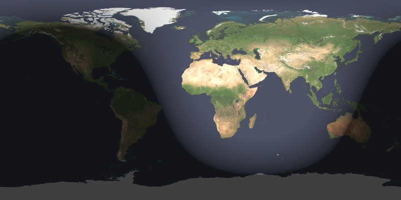 World map with curved edges of dark and light zones.