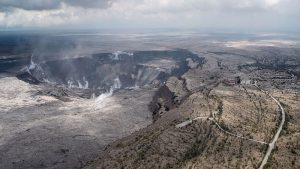 Photo showing a volcanically active area in Hawaii