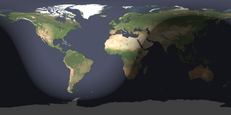 Map of Earth with day and night sides, terminator in East Africa, Saudi Arabia , and Siberia.