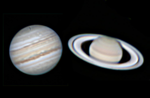 Telescopic image of Jupiter, combined with telescopic image of Saturn.
