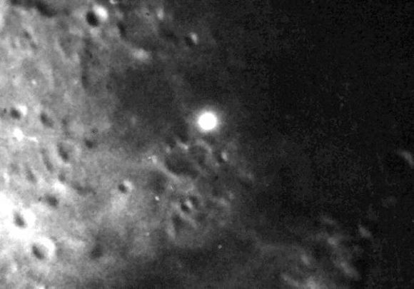 Larger bright spot on closeup on moon.