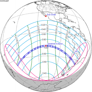 Map of solar eclipse on July 2, 2019.