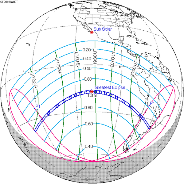 Line map of globe showing path of eclipse over South America and Pacific Ocean.