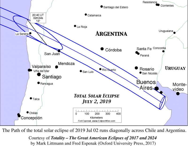 Parallel lines crossing mid South America, northwest to southeast, ending just south of Buenos Aires.
