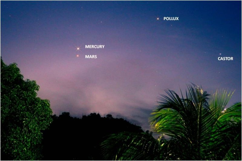 Pink twilight sky with labeled Mars and Mercury very close together. Stars Castor and Pollux marked.