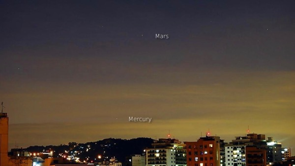 Mercury and Mars are starlike dots in a twilight sky, with Mercury closer to the horizon.