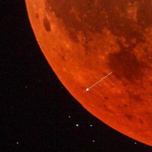 Meteorite impact on moon.