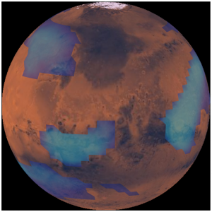 Computer simulation of clouds on Mars.