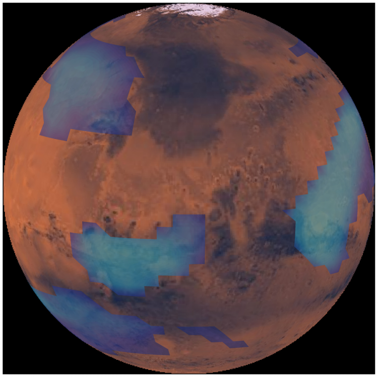 Dark orange planet with scattered large blue patches.