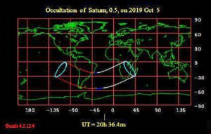 Worldwide map of the lunar occuation of Saturn on October 5, 2019.