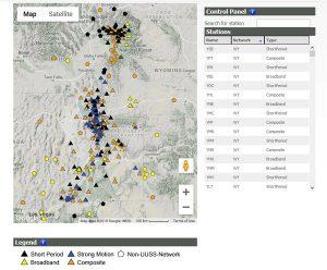 Map showing seismic monitoring stations at Yellowstone