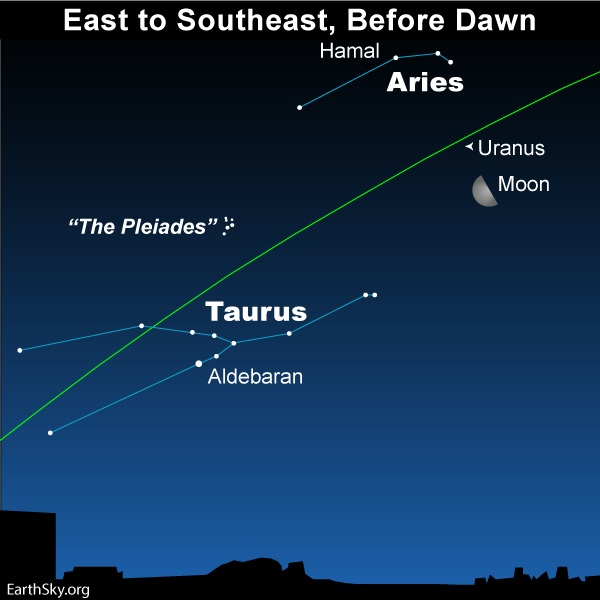 Moon, Aries and Taurus before dawn.